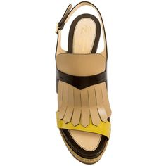 Santoni Fringed Sandals ($550) ❤ liked on Polyvore featuring shoes, sandals, open toe shoes, leather fringe sandals, leather strappy sandals, strappy sandals and tan shoes