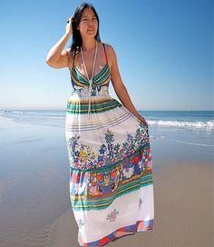 Women dress/ long strap dress/floral print dress/ by Danideng, $46.90