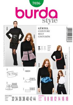 Schnittmuster: Gürtel - Download - Gürtel - Accessoires - Damen - burda style