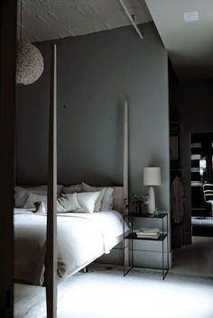 Méchant Studio Blog: beauty out of date grey bedroom four poster bed
