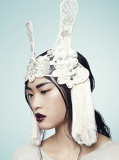 Angela Shen in headpiece by Hatmaker, photographed by Anton Zemlyanoy for PUSH IT Magazine.