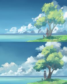 megatruh: so I want to make myself a little useful around here. here are the steps on how I draw/paint a conceptual landscape/scenery. included above are my brush setting for the tree(leaves) and the clouds :) my drawing program is paint tool SAI. I never use any other program :) This is a commissioned piece, please do not repost/reuse these images.