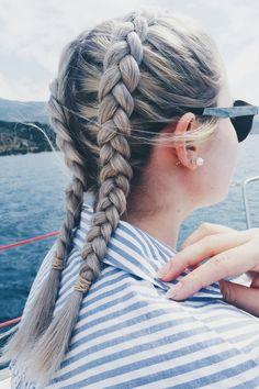 Blonde_dutch_braids. #dutch_braids #braids #blonde #hairstyle #hairstyling #hairart #hair #navy