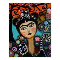 Cat Mexican Lady Day of the Dead Painting Poster