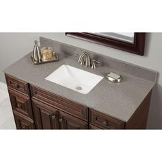 W Quartz Single Vanity Top in London Fog with White Basin