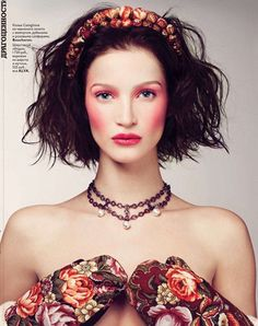 Vogue Russia.  Russian style in fashion. Folk. Floral pattern.