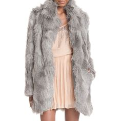 Plenty By Tracy Reese Faux Fur Cuddle Coat ($298) ❤ liked on Polyvore featuring outerwear, coats, neutral, women coats, plenty by tracy reese, faux coat, long sleeve coat and plenty by tracy reese coat