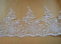 Width 10.63 inches ivory lace trimflowers embroidered by POPOLace 7.99$/yard