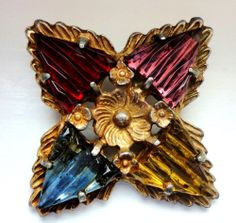 XL Antique Sparkly Fancy Multi-Colored Glass Cabachon & Metal Button