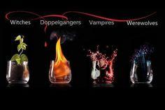 Čarodejnice - rastliny Dvojníci/čky - oheň Upíri - krv Vlkodlaci - mágia??? asi Krása♥♥