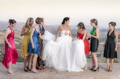 A Bride and her friends get ready for their photo