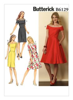 Butterick 6129 pattern Misses'/Misses' Petite | Etsy Fitted Skirt, Pleated Skirt, Vogue Patterns, Dress Patterns, Petite Dresses, Collar And Cuff, Flare Skirt, Wool Blend, Summer Dresses