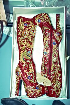 Hand embroidered boots at Vivienne Westwood Gold Label show in Paris