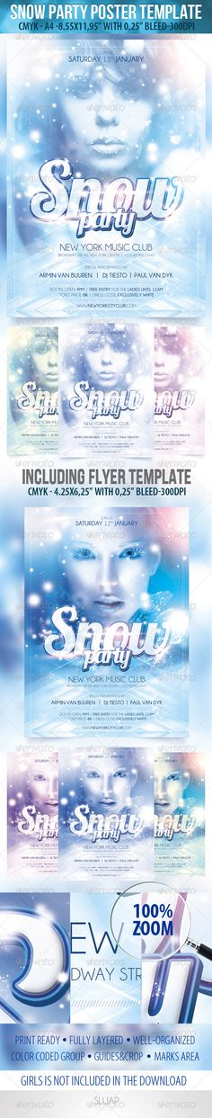 Snow Party-Poster Template & Snow Party-Flyer Temp - GraphicRiver Item for Sale Snow Party-Poster Te Fun Party Themes, Party Table Decorations, Party Games, Ideas Party, Party Pictures, Party Photos, Party Outfit Night Club, Cocktail Wedding Reception, Snow Party