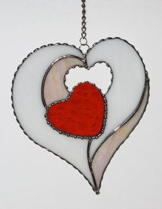 Stained Glass Suncatcher - Four Hearts in One, Valentine Heart, Valentines Day Gift
