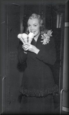 Marilyn sure enjoyed her ice cream!
