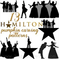 For fans of Broadway's Hamilton musical! Get Hamilton pumpkin carving patterns with Alexander Hamilton, The Story of Tonight, The Schuyler sisters, Hercules