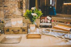 Rustic Décor from a Summer Barn Wedding   Photography by http://jenowensimages.com/