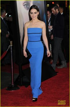 Emilia Clarke: Victoria Beckham dress, shoes and bag by Christian Louboutin, and Jacob and Co bracelet