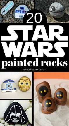 More than 40 Star Wars inspired rock painting ideas. From Baby Yoda to the death star, princess leia, chewbacca and more - you'll find a rock for every Star Wars character you could ever want. art ideas for kids Star Wars Inspired Rock Painting Ideas Chewbacca, Star Wars Crafts, Geek Crafts, Decor Crafts, Kids Crafts, Rock Painting Patterns, Rock Painting Designs, Rock Star Party, Star Wars Party