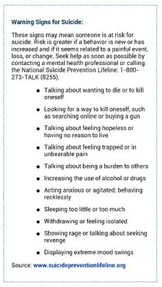 Warning Signs for Suicide. The only thing that's missing is the one I really look for, which is giving away things and finding homes for precious items with other people.