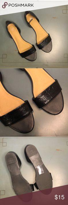 e7031581abd5 H M Sandals Flats H M Sandals - Black with croc patent leather detailing.  Never worn