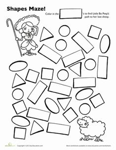 Little Bo Beep has lost her sheep! Your preschooler can get basic shapes practice by coloring in the rectangles of this maze.