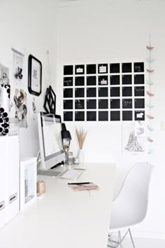 Black and White Office   This crisp, white office features a graphic wall calendar that's actually a DIY project using chalkboard paint!