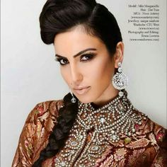 Published in South Asian Bride Magazine. Brown smokey eyes and nude lips for an Indian wedding makeup. Kim Kardashian inspired smokey eyes by noor artistry
