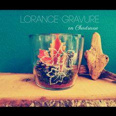 Vase & bougie Creation d'automne Gravure sur Verre