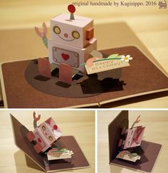 3d Cards, Pop Up Cards, Origami, Tarjetas Pop Up, Diy And Crafts, Paper Crafts, Paper Engineering, Interactive Cards, Kids Birthday Cards