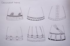 Different Regency hem decoration styles as seen in similar ways in fashion copperplate prints (© Nina Möller)