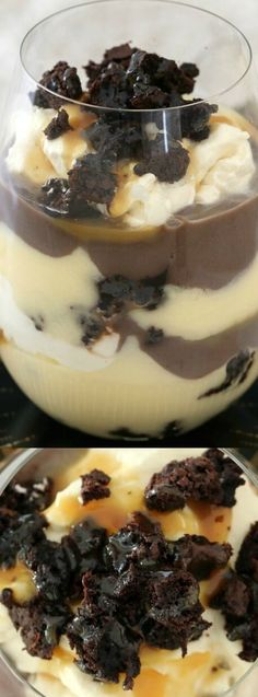 These Baileys Chocolate Brownie Trifles from Bake Play Smile are filled with a rich chocolate brownie, vanilla custard, whipped cream, Baileys Irish Cream, chocolate custard, and a salted caramel sauce to give it an amazing salty sweet flavor. If you love chocolate, then this is one dessert that you must try!