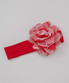 Take a look at this Red Tulle Flower Headband on zulily today!