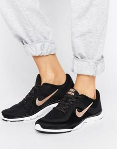 Nike Flex 6 Trainers In Black And Metallic Gold