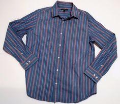Banana Republic Men's Blue/Red Striped Slim Fit Dress Shirt sz large  #BananaRepublic