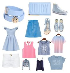 """Blue and pink💙💗"" by novaleelong on Polyvore featuring Versace, Juicy Couture, Chi Chi, Converse, Carven, Current/Elliott, Cornetti, Alice + Olivia and Sans Souci"