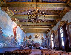 The beauty of the mural room in the Santa Barbara Courthouse.