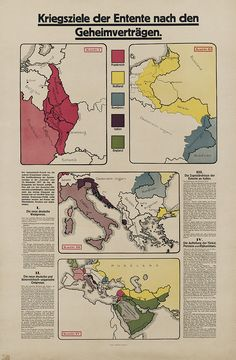 Vintage infographic War goals of the Entente after the secret treaties (1918)