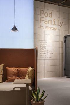 Martela Pod Family at Stockholm Furniture Fair. Design by Aivan. Booth Design, Scandinavian Design, Stockholm, Furniture, Home Decor, Decoration Home, Room Decor, Home Furnishings, Home Interior Design