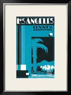 Travel Poster for Los Angeles Art Print at Art.com