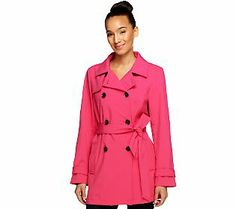 Isaac Mizrahi Live! Water Resistant Double Breasted Trench Coat
