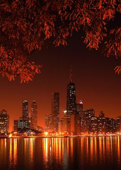 red lights chicago skyline landscape UP city lights reflection cityscape uncropped nature Lac Michigan, Beautiful World, Beautiful Places, Chicago Skyline, My Kind Of Town, Night City, City Lights At Night, Belle Photo, Wonders Of The World