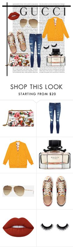 """Presenting the Gucci Garden Exclusive Collection: Contest Entry"" by alyssalouis ❤ liked on Polyvore featuring Gucci, J Brand, Lime Crime and gucci"