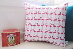 Cute Flamingo Print Cushion Pink and White by LilyLovesShopping