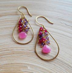 gemstone hoop earrings fuchsia pink purple cluster earring amethyst rock crystal jade gold fill February birthstone Xmas gift for her