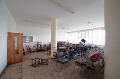 Abandoned Kempton Park Hospital - Chairs chairs and more chairs . Abandoned Asylums, Abandoned Places, Kempton Park, Abandoned Hospital, Documentary Photographers, Walk Out, Amazing Places, South Africa, The Good Place