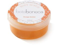 Gorgeous orange body scrub.Smells so good you will want to eat it! Not tested on animals and contains no parabens.www.bellaboneca.co.za
