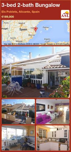 Bungalow in Els Poblets, Alicante, Spain 3 Bedroom Bungalow, Bungalows For Sale, Alicante Spain, Private Garden, Open Plan Kitchen, Murcia, Seville, Malaga, Mountain View