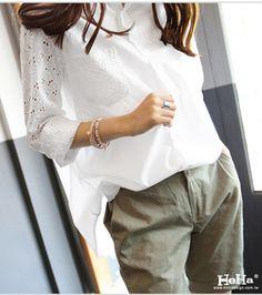 【HeHa】襯衫 長袖繡花鏤空氣質襯衫 白色 - PChome購物中心